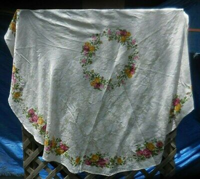 "Royal Albert Old Country Roses 72"" Round Tablecloth Table Cover"