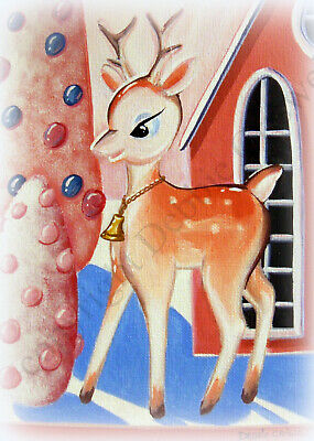 ACEO folk art print PINK DEER vintage MC sleepy eye style Christmas reindeer DC