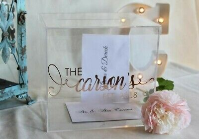 Personalized Wedding Card Box,  Acrylic Card Box, Wedding Money Box, Inc Lid