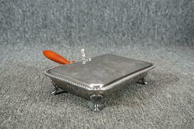 Poole Silver Co. Silverplate Footed Silent Butler With Wood Handle #125