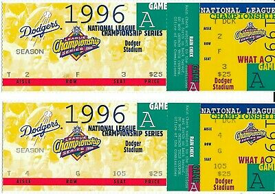 (2) 1996 Los Angeles DODGERS NLCS Baseball TICKETS Game A Braves vs Cardinals