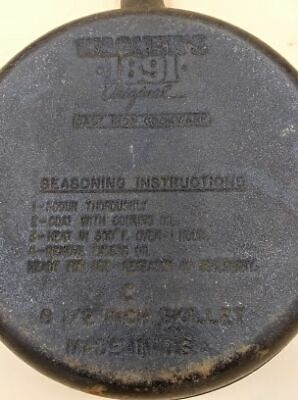 WAGNER 1891 CAST IRON SKILLET DOUBLE SPOUT 8-1/8 inch CLEAN FLAT