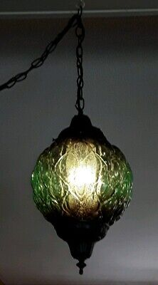 Vintage Mid Century Green Glass Globe Hanging Swag Lamp Light w/ Diffuser