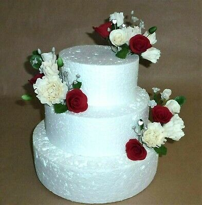 In stock handmade sugar paste flowers White Peony Red Rose cake topper wedding
