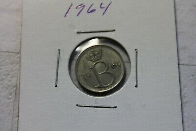 "1964 Belgium Coin, 25 Centimes - ""BELGIQUE"" French Legend Free Ship"