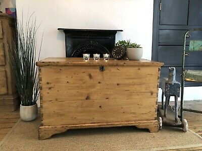 Beautiful Antique Georgian Victorian Vintage Old Pine Chest  Trunk  Blanket Box