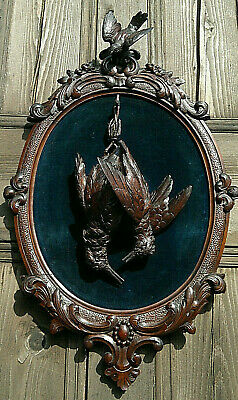 """Antique Black Forest Carved Game Bird """"Fruits of the Hunt"""" Wall Plaque 26.5"""""""