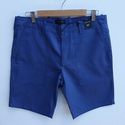 BNWT RIVER ISLAND Men's Blue Chino Style Deep Pocket Cotton Shorts size 32 / W32