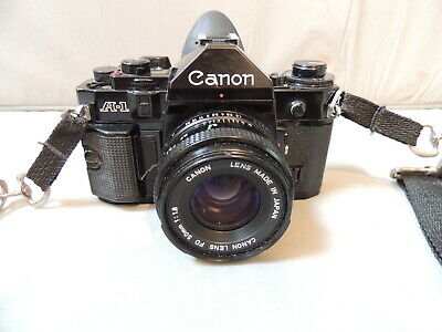 Vintage Black Canon A-1 Camera wit Canon FD 50mm 1:1.8  Lens and Strap