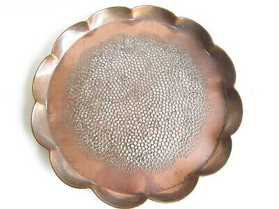Vintage Handmade Copper Tray Flower Shape - Hammered centre - 32cm