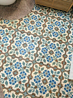 ONE Antique 1920s MAIN or CORNER Tile Forget-Me-Not Deco French Encaustic 15cm