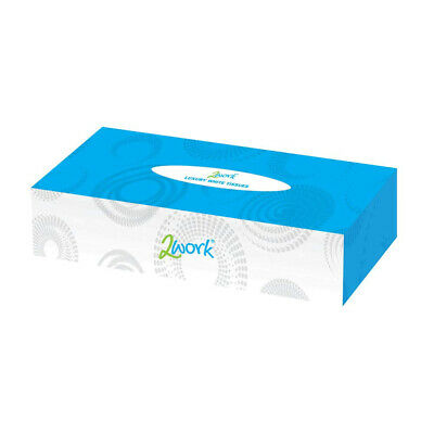2WORK Facial Tissues Box, 100 Sheets, Pack of 36