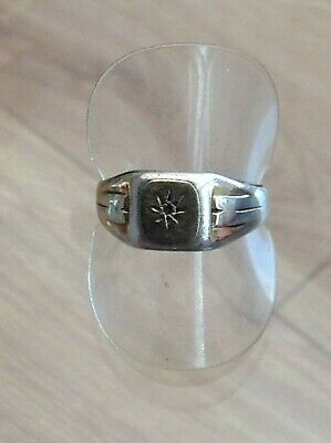 Silver And Gold Old Signet Ring Stone Missing (T)
