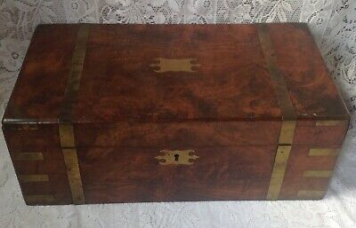 Early Victorian Walnut Brass Bound Writing Slope With Ink Wells, Original Cond.