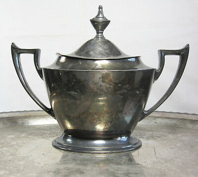 Antique Art Deco Derby Silver Co Sugar Bowl Superb Condition