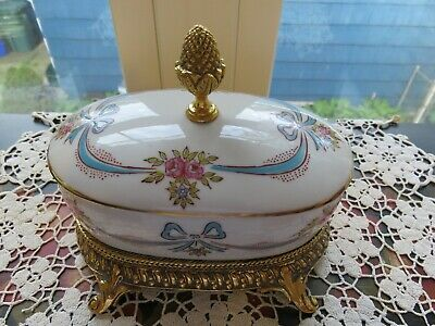 Vintage German Porcelain  Covered Vanity Soap Dish Brass Footed Base Floral EXC
