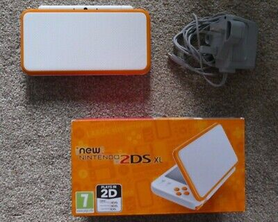 Nintendo New 2DS XL Console Boxed White / Orange & Charger Excellent Condition