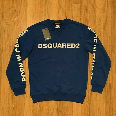 Men's DSQUARED2 Logo Sweatshirt, Pullover in Blue, Crew Neck, See Sizes