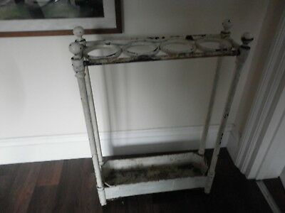 Vintage Early 20th C White Painted Cast Iron Stick + Umbrella Stand + Drip Tray
