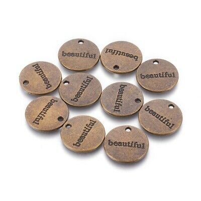 10 Word Charms Antique Bronze Tone Beautiful Pendants Circle Tags Inspirational