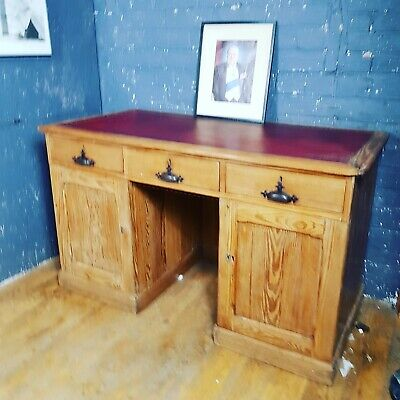 victorian pitch pine red leather topped stripped pine clarks desk can deliver