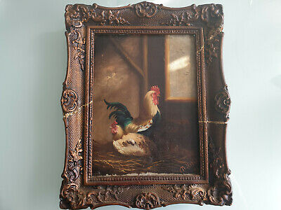 Antique oil painting on wooden panel, signed Th.Matthijs, hens, chickens, plaque
