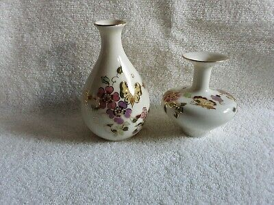 2 Zsolnay Pecs Hungary Painted Porcelain Floral Bud Flower Vases,Gold highlights