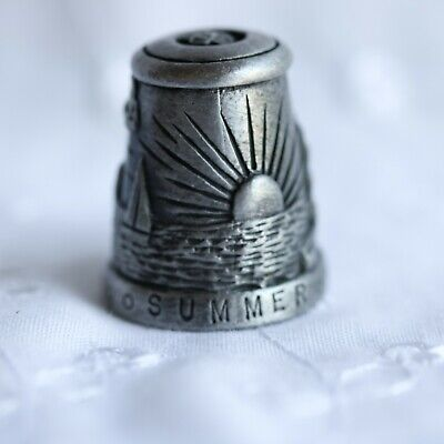 Vintage Collectible Metal/Pewter Summer Sun and Sailing Boats Thimble