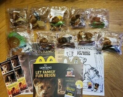 THE LION KING McDonalds Happy Meal Complete Set 10 Toys Stickers Pins Box LOT 🔥