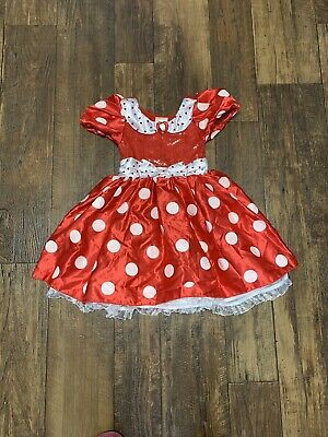 Disney Store Red With Hearts Minnie Mouse Girls Dress/Halloween Costume--size 4
