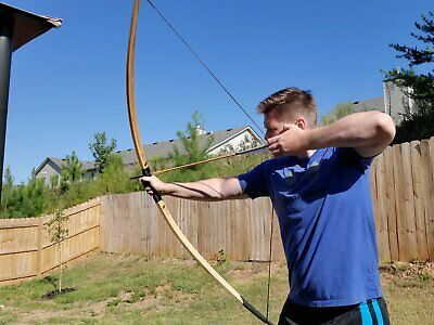 """Traditional longbow handcrafted 58/"""" hickory 45lb @ 26/"""" With out rest"""