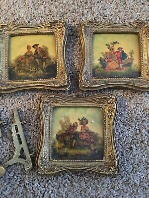 3 Antique WHEELING Tile PAINTED?CERAMIC WITH COUPLE Framed