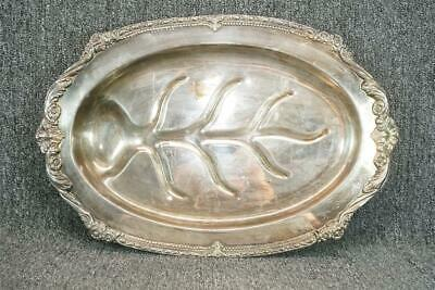 """19.5"""" Long Oval Silver Plated Vintage Footed Serving Tray By Sheridan"""