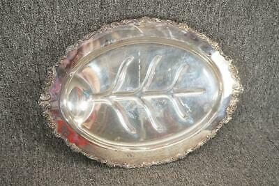 """Vintage 18"""" Wide Oval Silver Plated Footed Serving Tray Sheridan"""