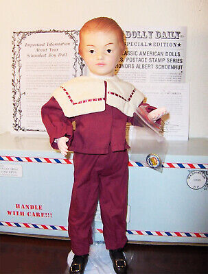 ANTIQUE REPRODUCTION SCHOENHUT BOY 17in USPS STAMP WOODEN JOINTED DOLL + EXTRAS