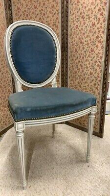 French painted Louis XVI style bedroom chair for upholstery
