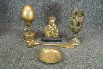 Assorted Set Of 6 Brass Items Including Lamp, Mary Figurine & Candle Holder