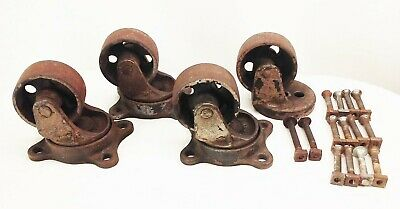"Vtg antique cast iron industrial cart swivel casters wheels 3"" w/ hardware"