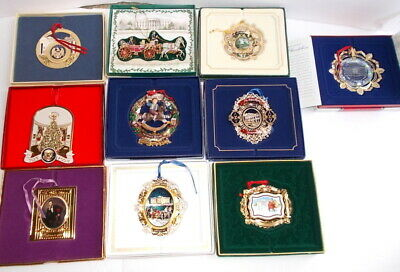 Lot of 10 White House Historical Association Christmas Ornaments w/Boxes