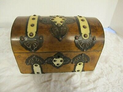 Antique Dome Top Burlwood Tea Caddy Box Brass Trim and Bone Accents (1800's??)