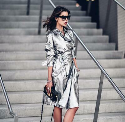 Bty15 Women Trench Coat Overcoat Mid Long Jacket Shiny Parka Silver Party Spring