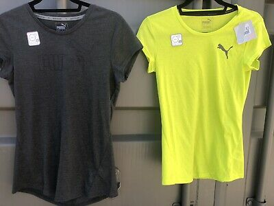 Ladies LOGO Puma Climalite Drycell Exercise Tshirt Light Weight Limepunch & Grey