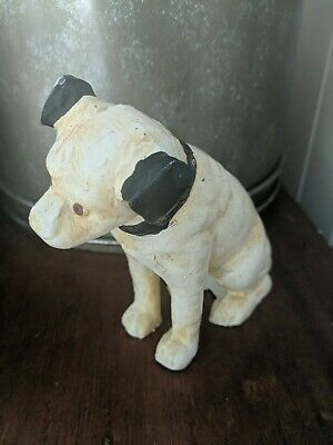 """Antique RCA """"Nipper"""" Old Hand Painted Cast Iron Hubley Advertisement Dog Bank"""