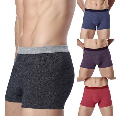 Mens Boxer Briefs Underwear Elastic Comfy Cotton Bulge Shorts Trunks Underpants