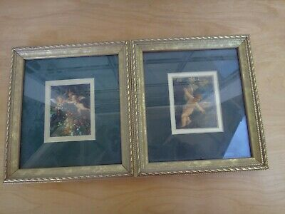 Two Vintage Small Pictures w/ Gold Gilded Frame