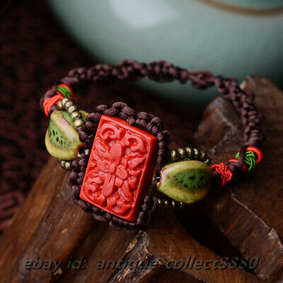 Chinese Style Lacquerware Flower/Ceramics/Copper Bead Rope Hand Woven Bracelet