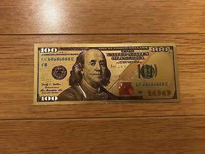 .999 Pure 24K Gold $100 Dollar Bill New Style Color Enhanced 2 Side Novelty Note
