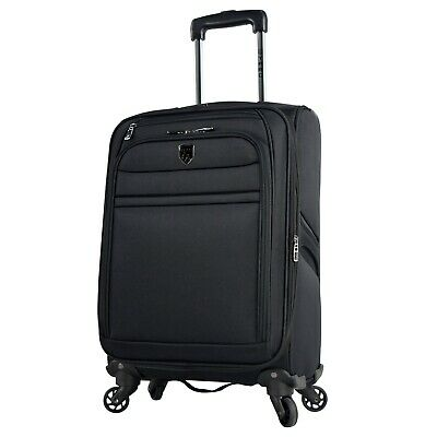 """TPRC 20"""" Rolling Expandable Carry-on 4-Wheel Spinner Black Luggage WP-29720-001"""