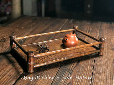 """15"""" Old Chinese Rose Huanghuali Wood Dynasty Carving Wine Tea Dish Tray Plate T"""