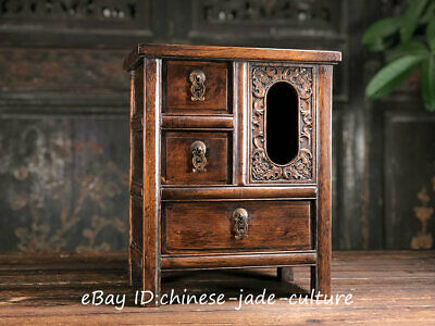 """16"""" Old Huanghuali Wood Carving Drawer Buddhsit Ghau Shrines Wire Shelving table"""